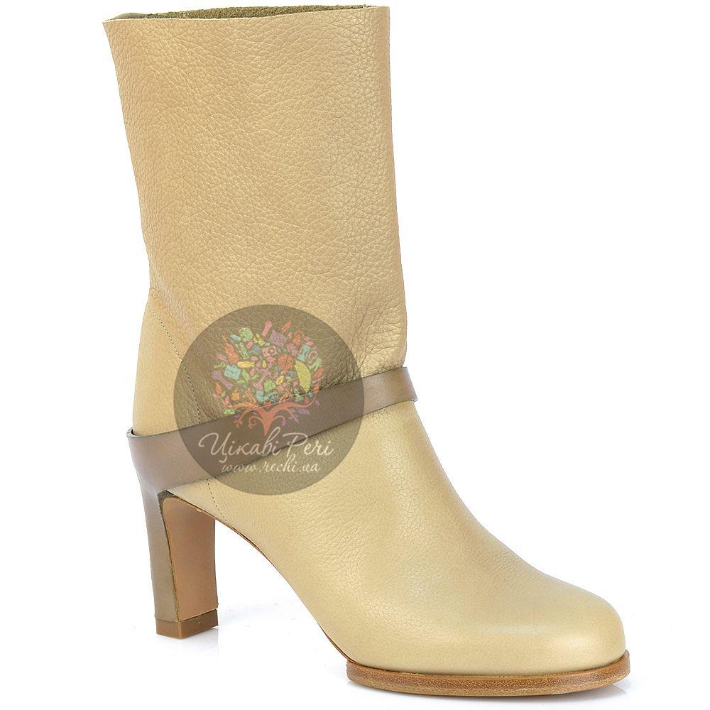 Ботинки Chloe осенние кожаные бежевые на каблуке