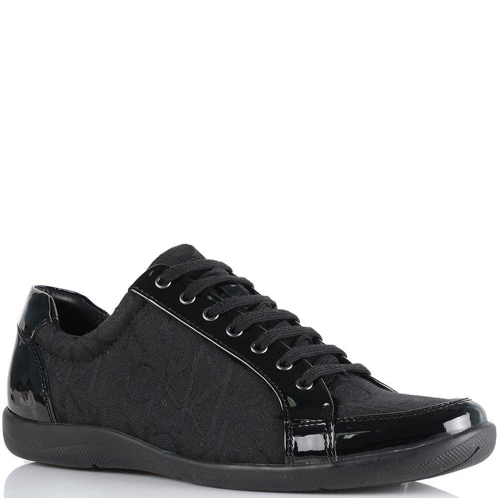 Женские кроссовки Calvin Klein черного цвета из кожи и брендированного текстиля