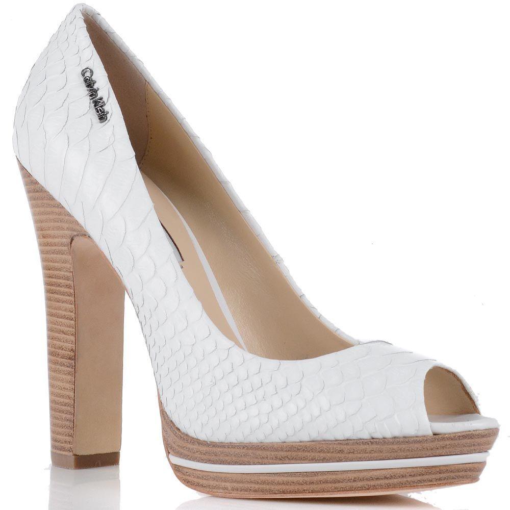 Белые туфли Calvin Klein с открытым носком на высоком каблуке и платформе