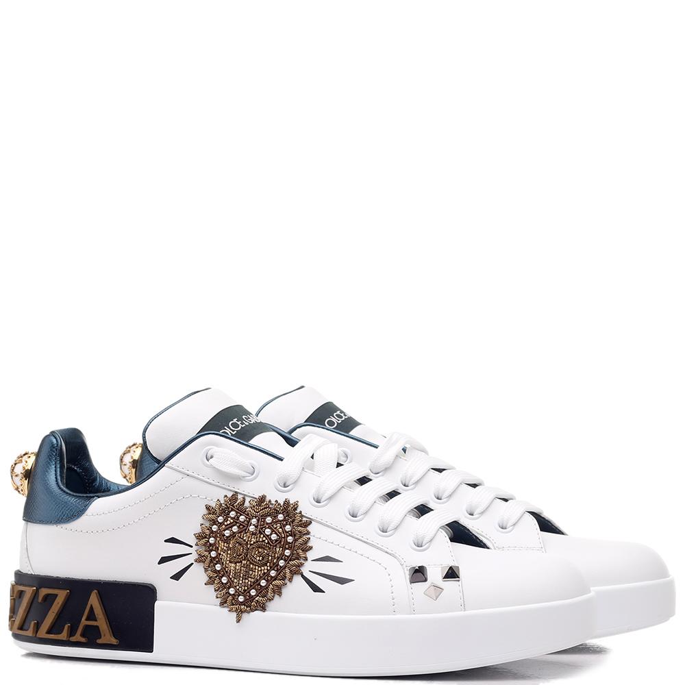 Белые кеды Dolce&Gabbana с аппликацией