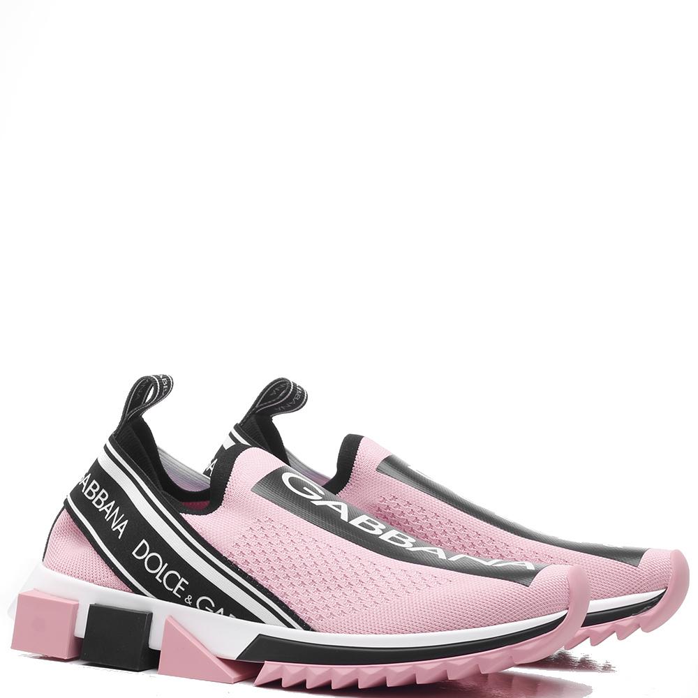 Розовые кроссовки Dolce&Gabbana на рельефной подошве