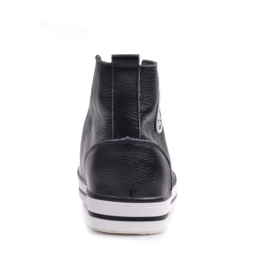 Кеды Prego из натуральной кожи черные на белой подошве и с белой шнуровкой