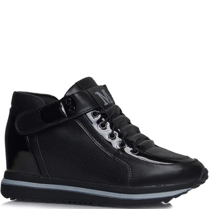 Кроссовки Jierkang черного цвета с лаковыми и перфорированными вставками