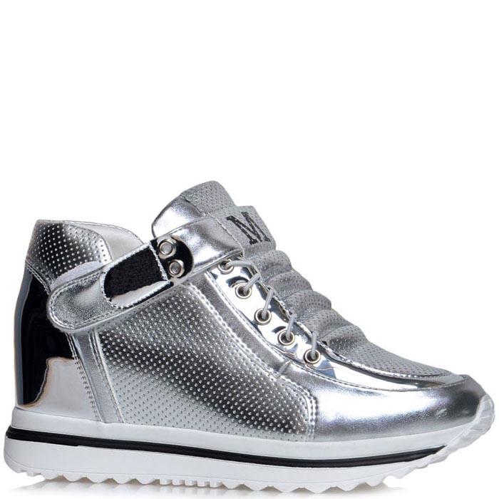 Серебристые кроссовки Jierkang с перфорированными вставками