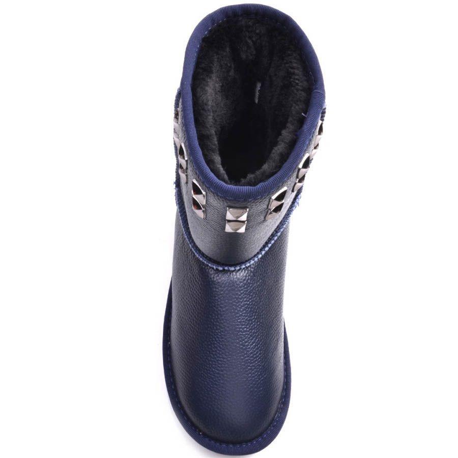 Ботинки Prego зимние кожаные синего цвета на меху с металлическими заклепками