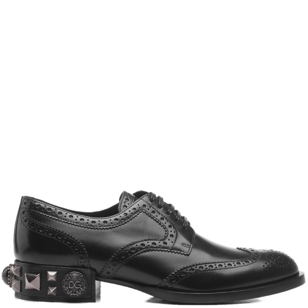 Черные броги Dolce&Gabbana с декором на каблуке