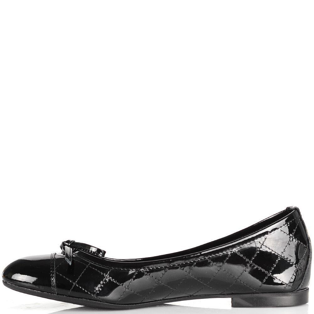 Кожаные черные балетки NilaNila лаковые стеганые
