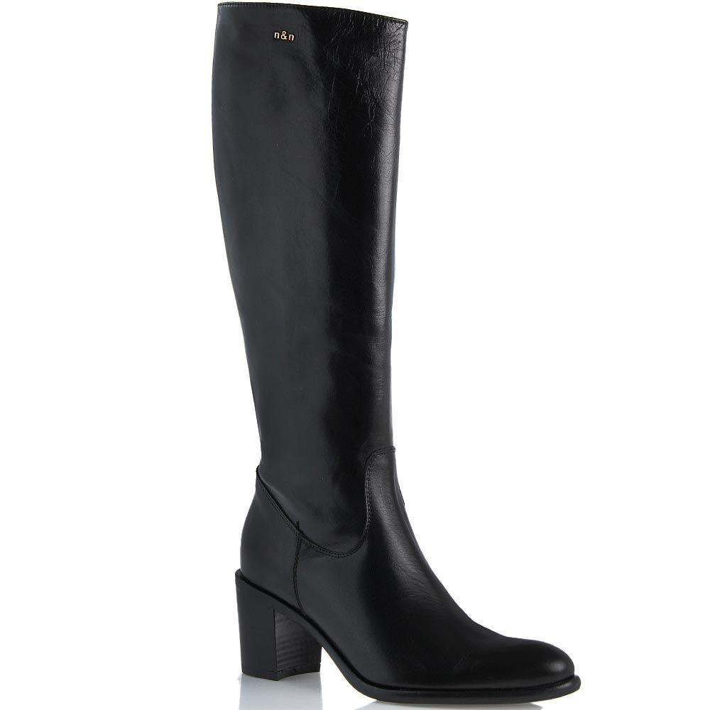 Сапоги NilaNila кожаные черные на устойчивом среднем каблуке