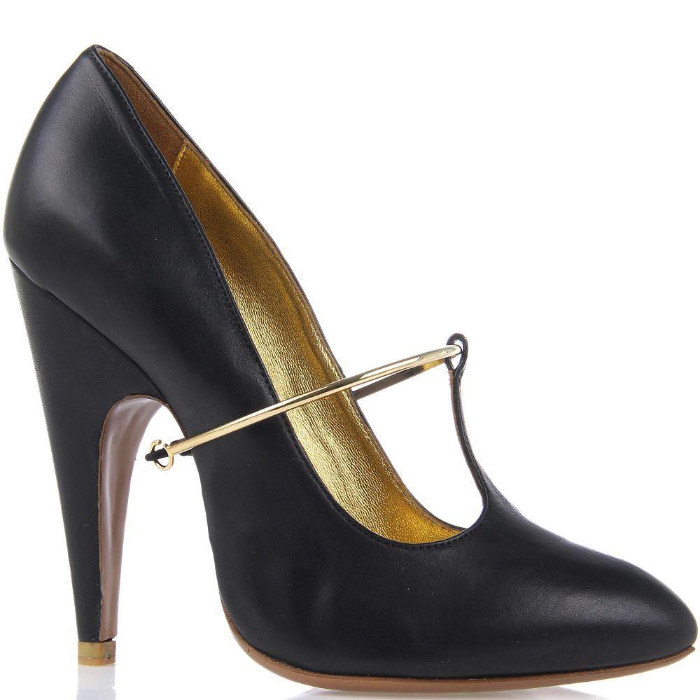 Женские туфли Giordano Torresi Corallo из натуральной кожи с золотистым декором