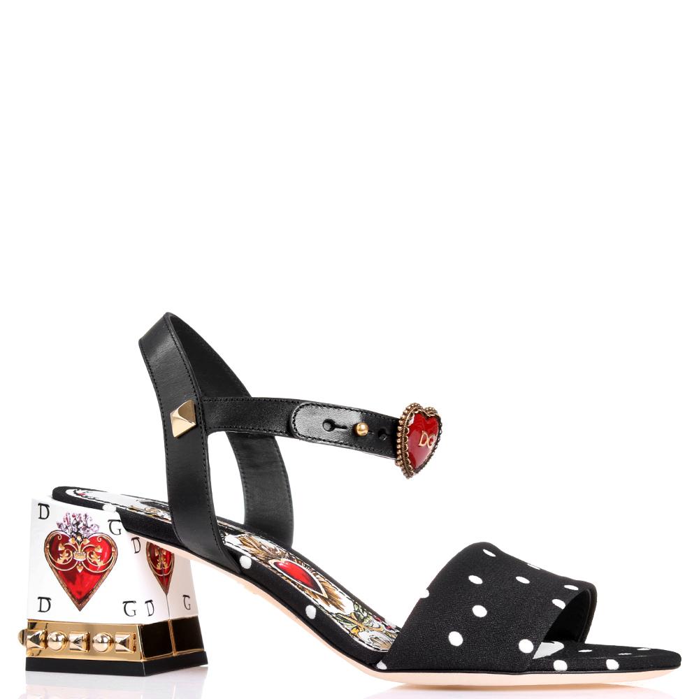 Черные босоножки Dolce&Gabbana с золотым декором на каблуке
