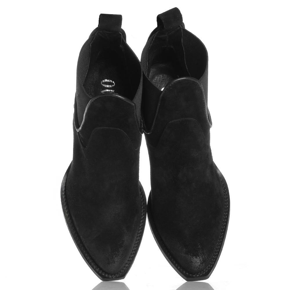 Замшевые казаки Ovye by Cristina Lucchi черного цвета со вставками-резинками
