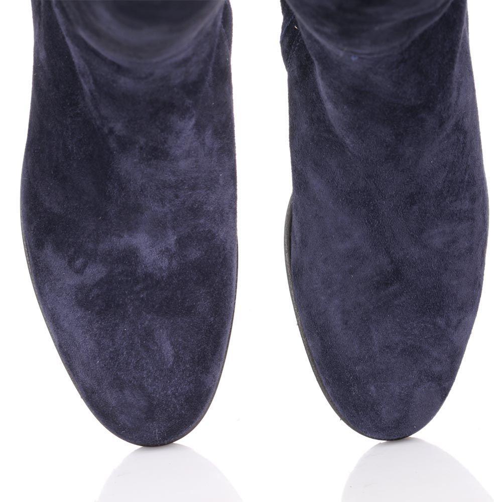 Сапоги The Seller JD зимние синего цвета замшевые на меху