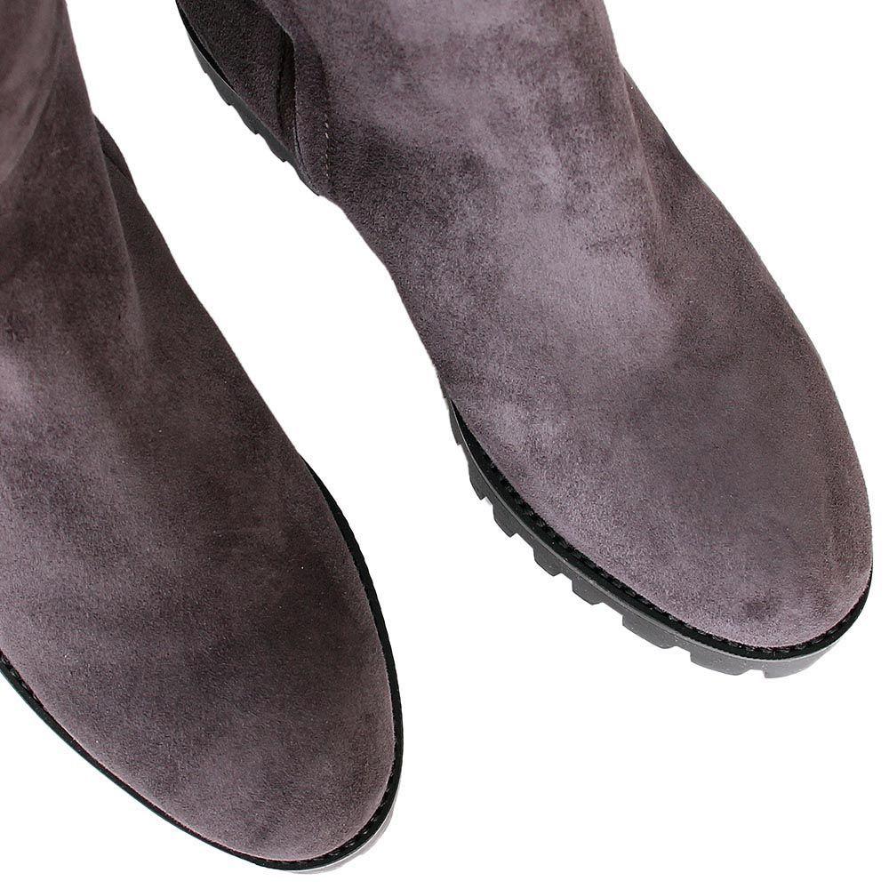 Зимние сапоги The Seller JD серого цвета замшевые на меху с рельефной подошвой