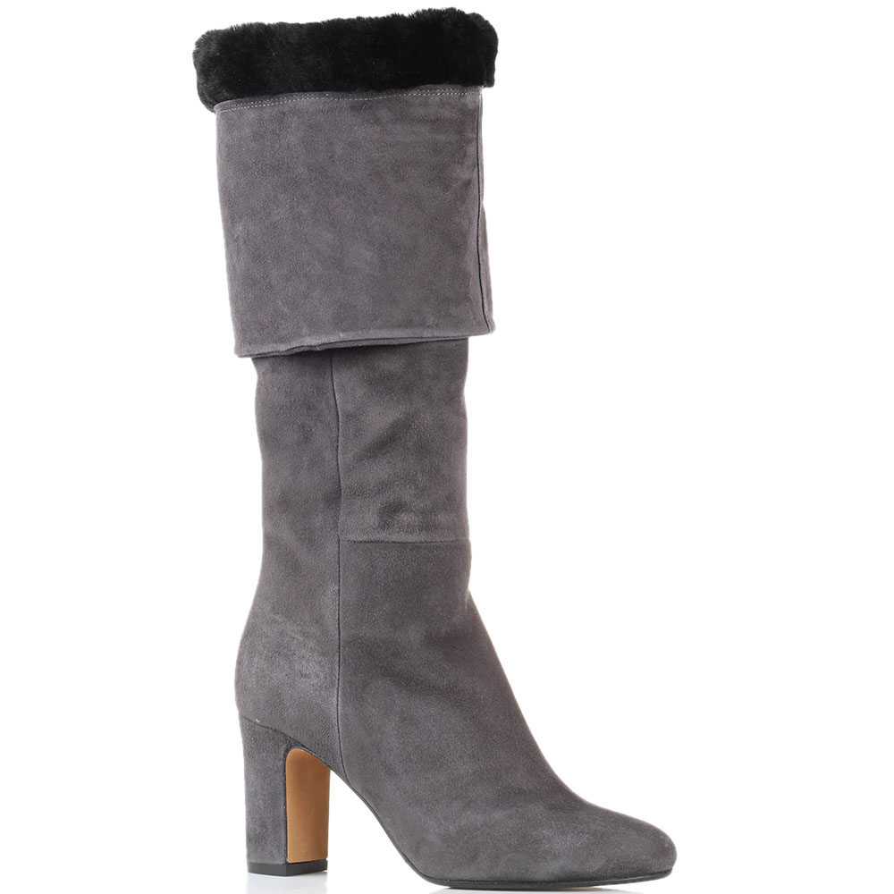 Высокие замшевые сапоги на меху The Seller JD серого цвета
