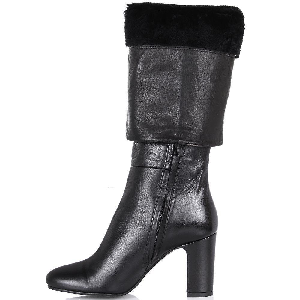 Зимние сапоги The Seller JD черного цвета из гладкой кожи на меху с округлым носочком