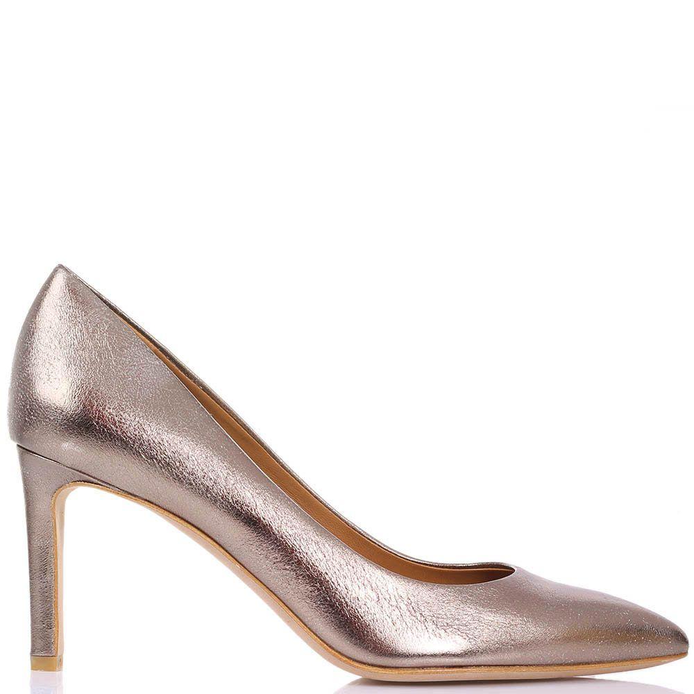 Туфли-лодочки The Seller JD кожаные серебристо-бронзового цвета с эффектом потертости