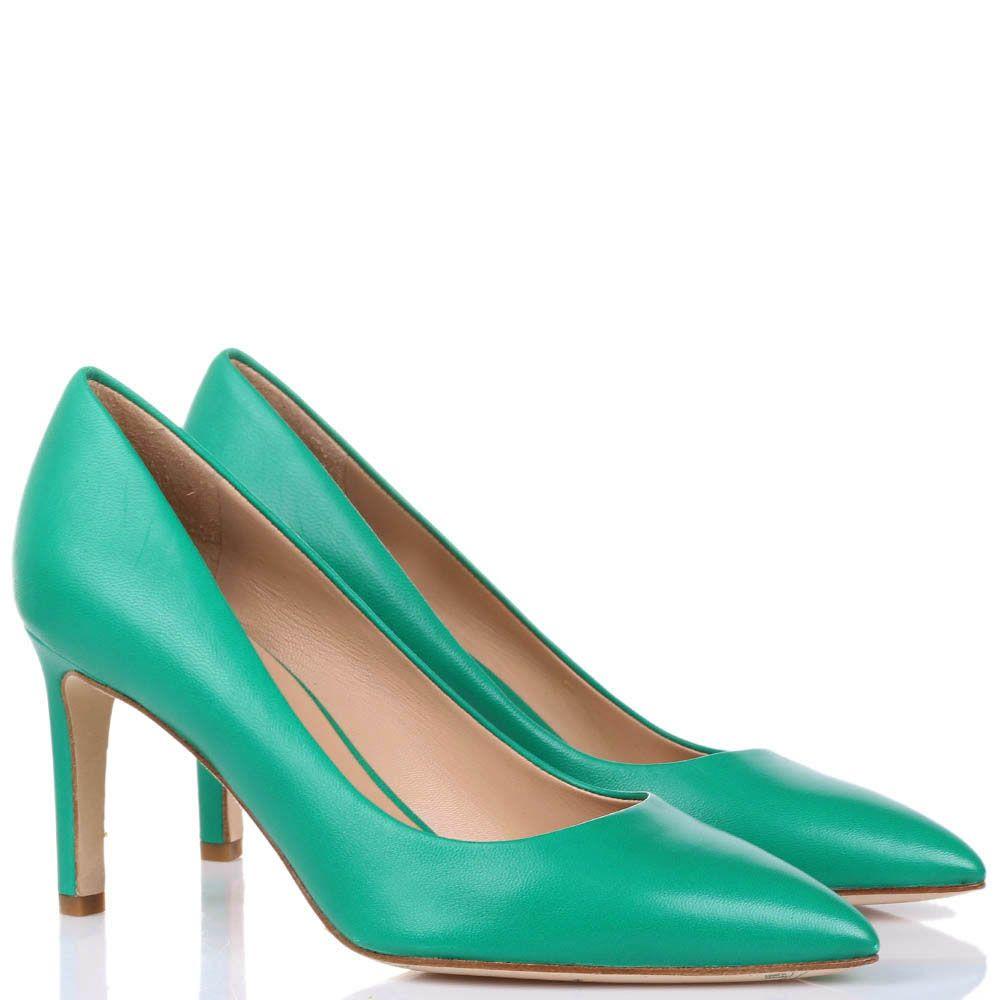 Туфли-лодочки The Seller JD из натуральной кожи зеленого цвета