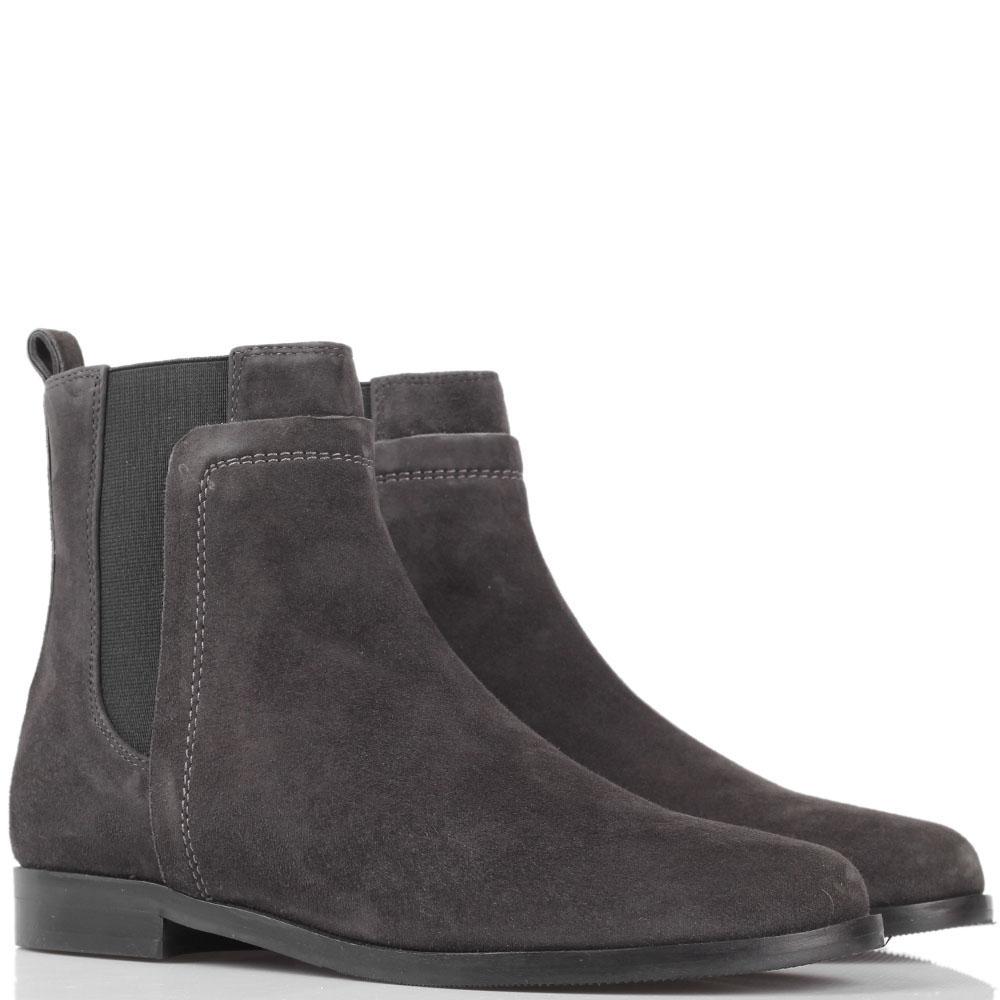 Замшевые ботинки на резинках The Seller JD серого цвета