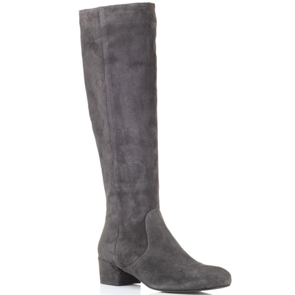 Замшевые сапоги серого цвета The Seller JD на низком каблуке