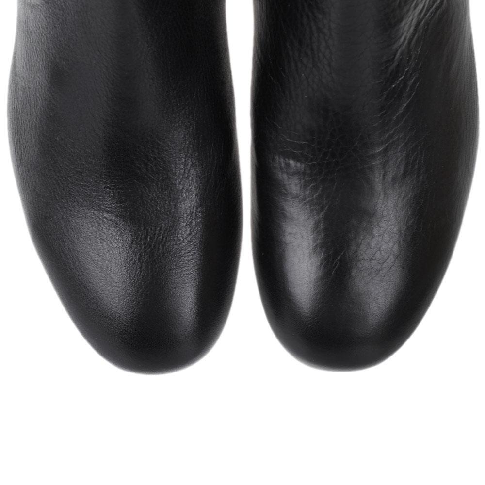 Кожаные сапоги черного цвета The Seller JD на низком каблуке