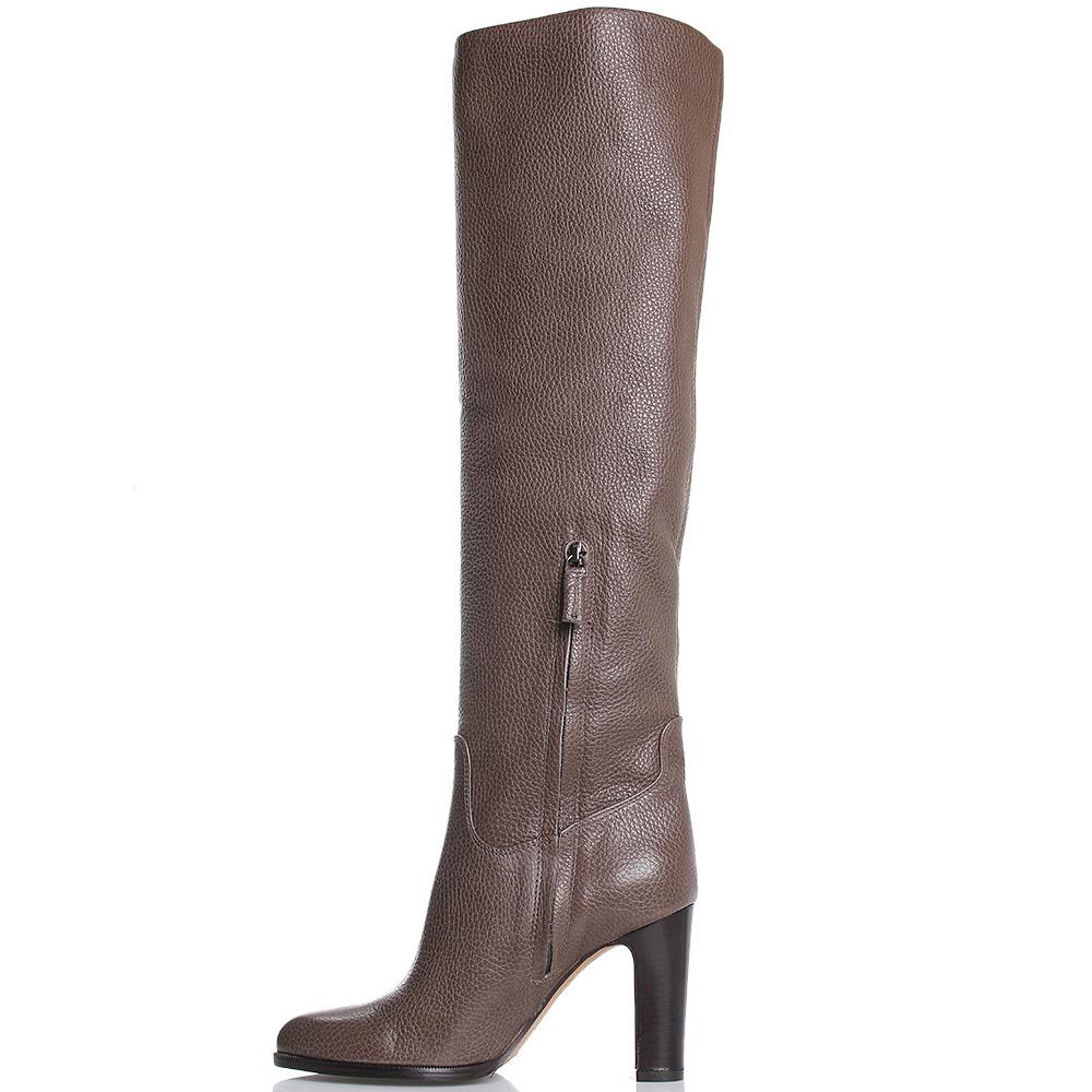 Высокие сапоги из зернистой кожи The Seller JD коричневого цвета