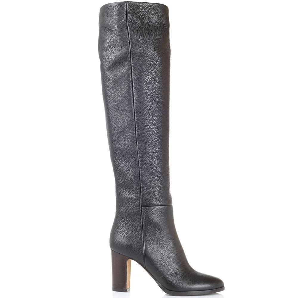 Высокие сапоги из зернистой кожи The Seller JD черного цвета на толстом каблуке