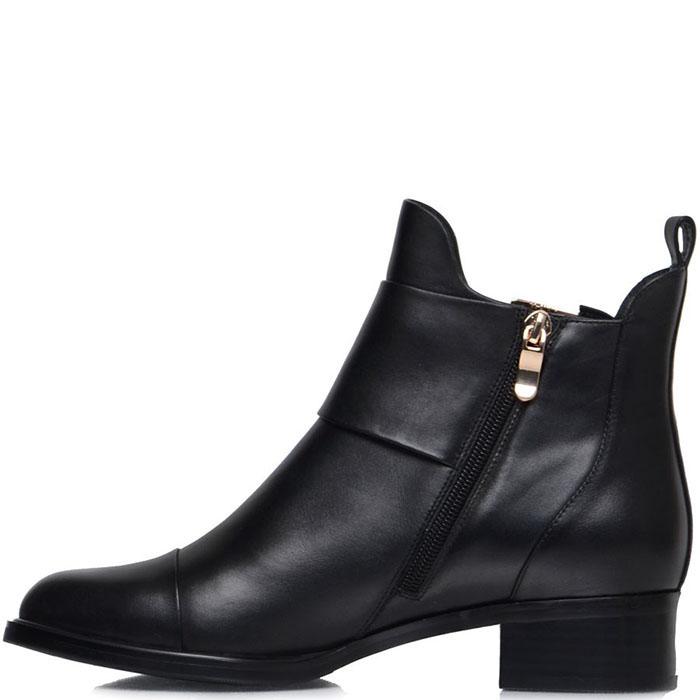 Кожаные ботинки Prego черного цвета с декоративными ремешками