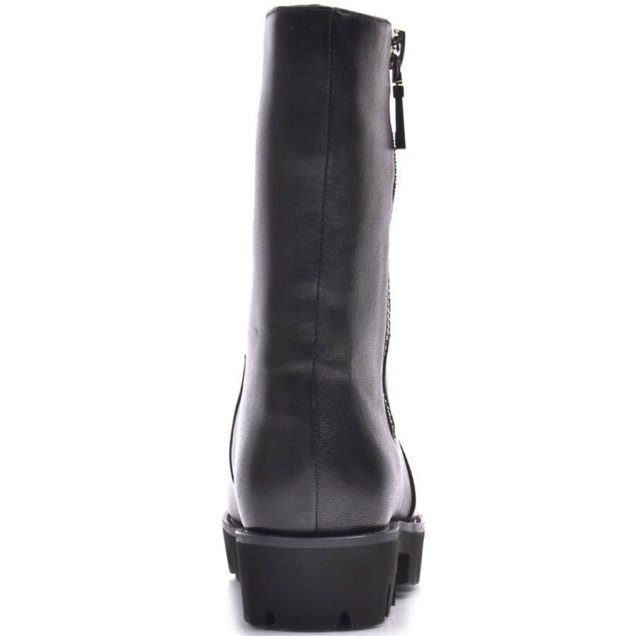 Полусапожки Prego зимние черного цвета с боковой серебристой молнией