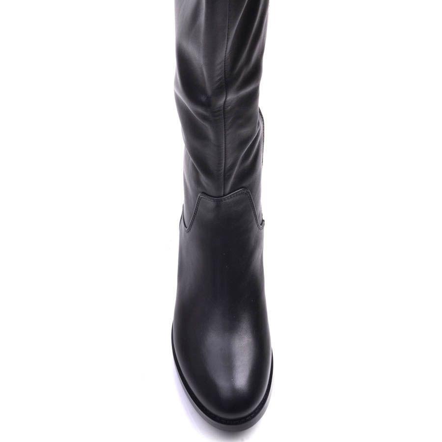 Сапоги Prego зимние кожаные черного цвета с расширенным к верху голенищем