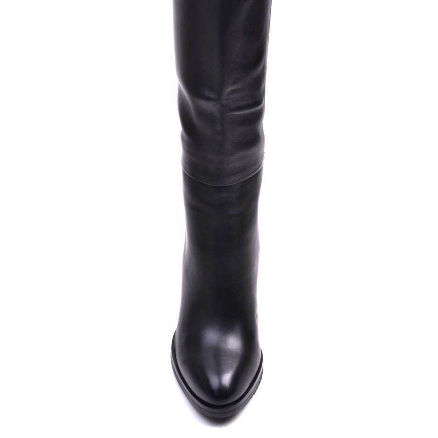 Сапоги Prego зимние из гладкой кожи с мехом по щиколотку и каблуком высотой 10 см