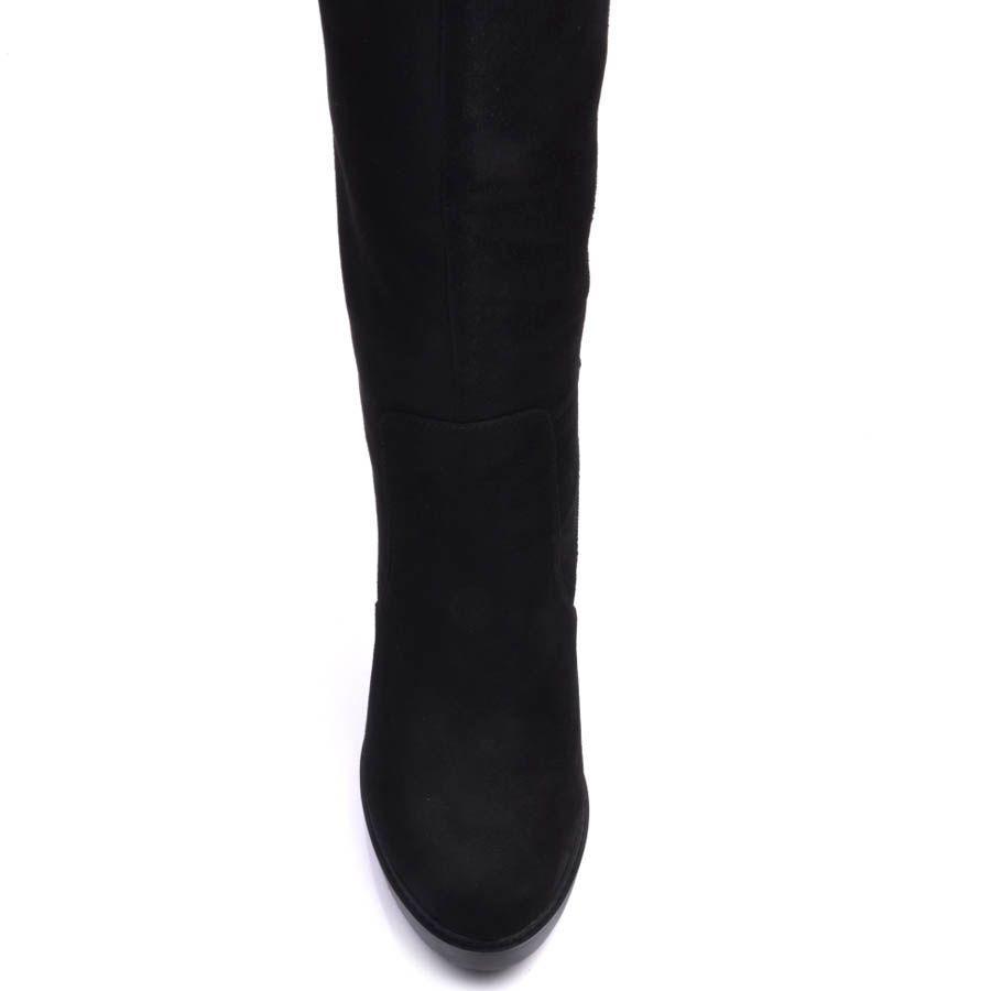 Сапоги Prego зимние из замши с мехом по щиколотку и каблуком высотой 10 см
