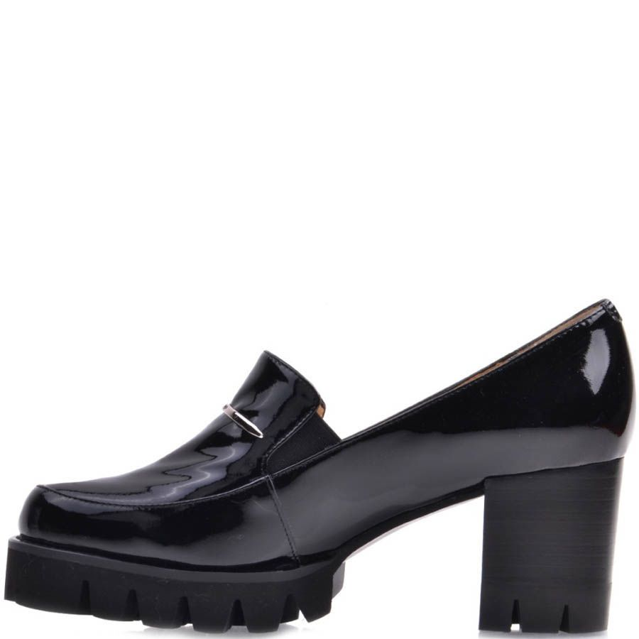 Туфли Prego лаковые черного цвета на толстом каблуке и с серебристой металлической вставкой