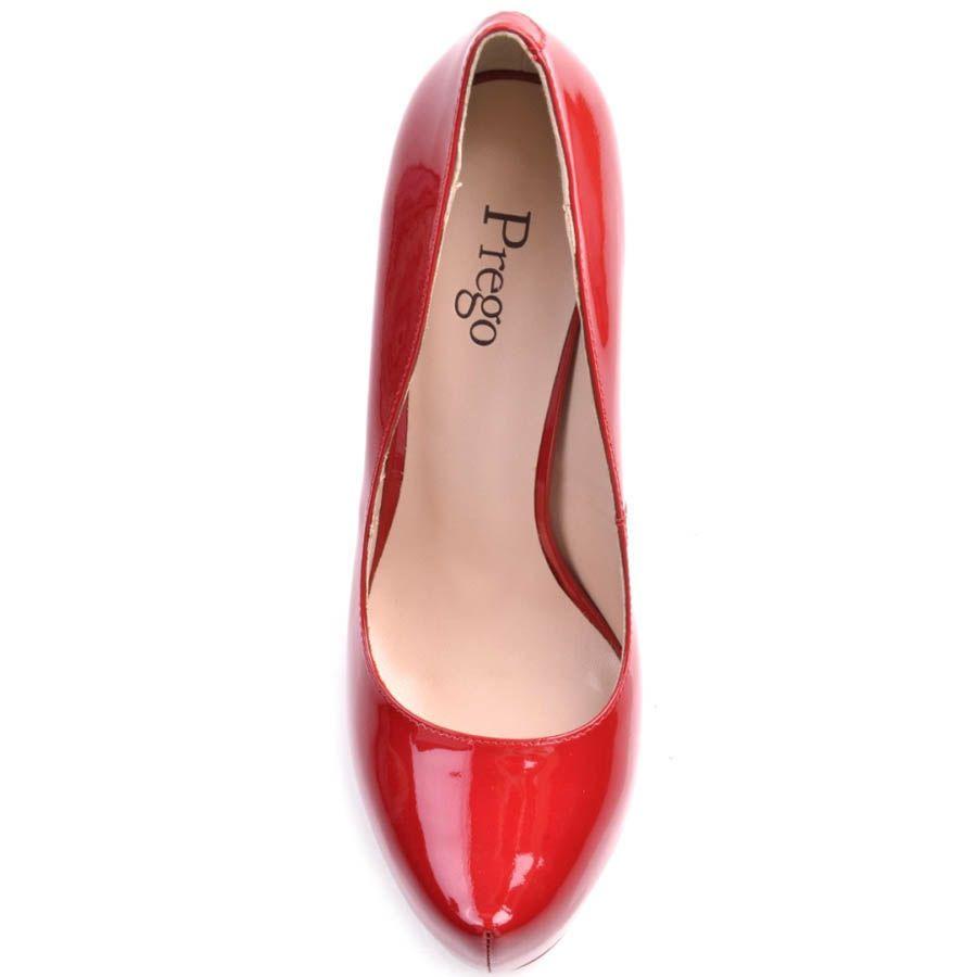 Туфли-лодочки Prego красного цвета лаковые на высокой шпильке и скрытой танкетке
