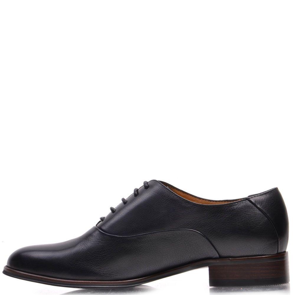 Туфли-оксфорды Prego из натуральной кожи черного цвета на низком каблуке