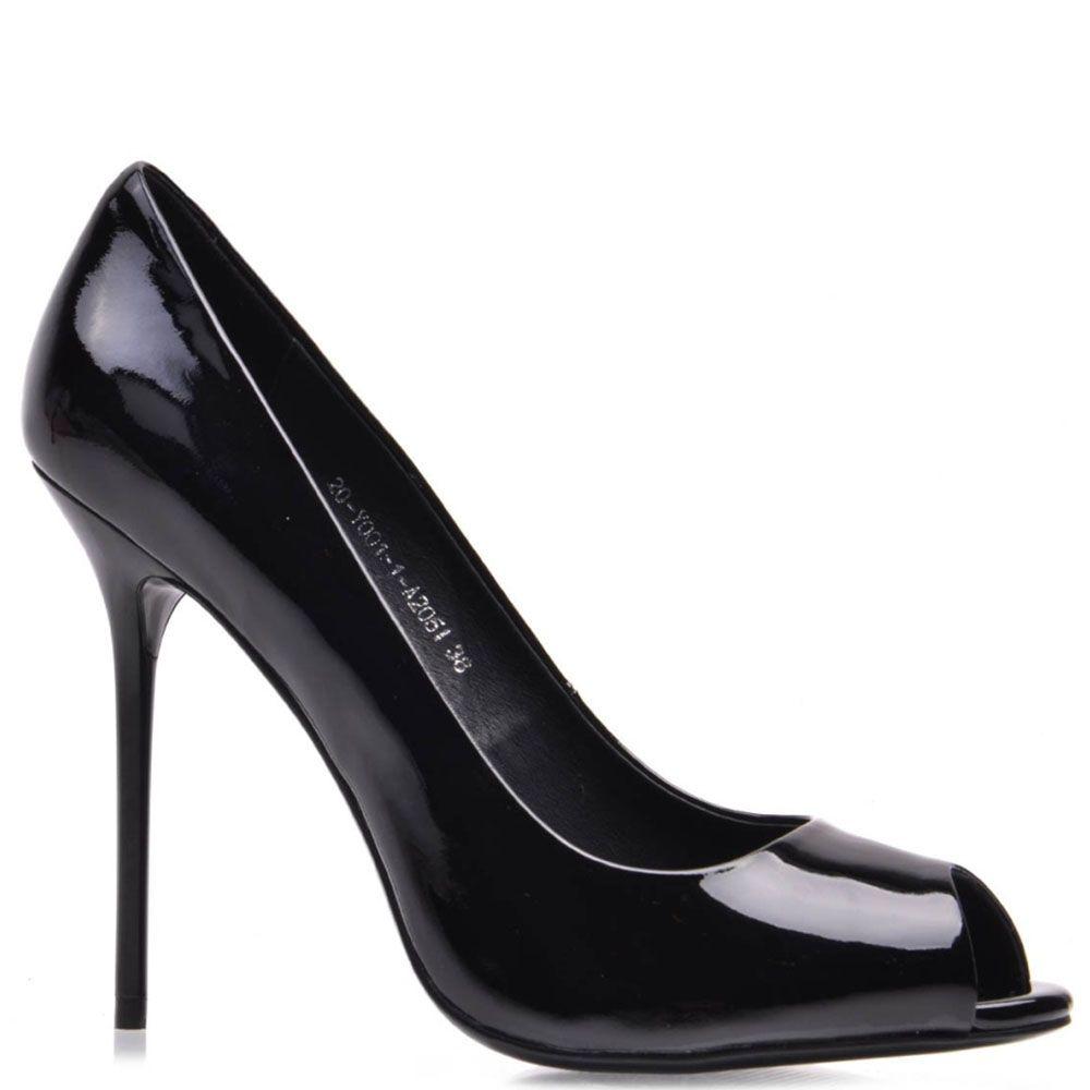 Лаковые туфли Prego из натуральной черной кожи с открытым носочком на шпильке