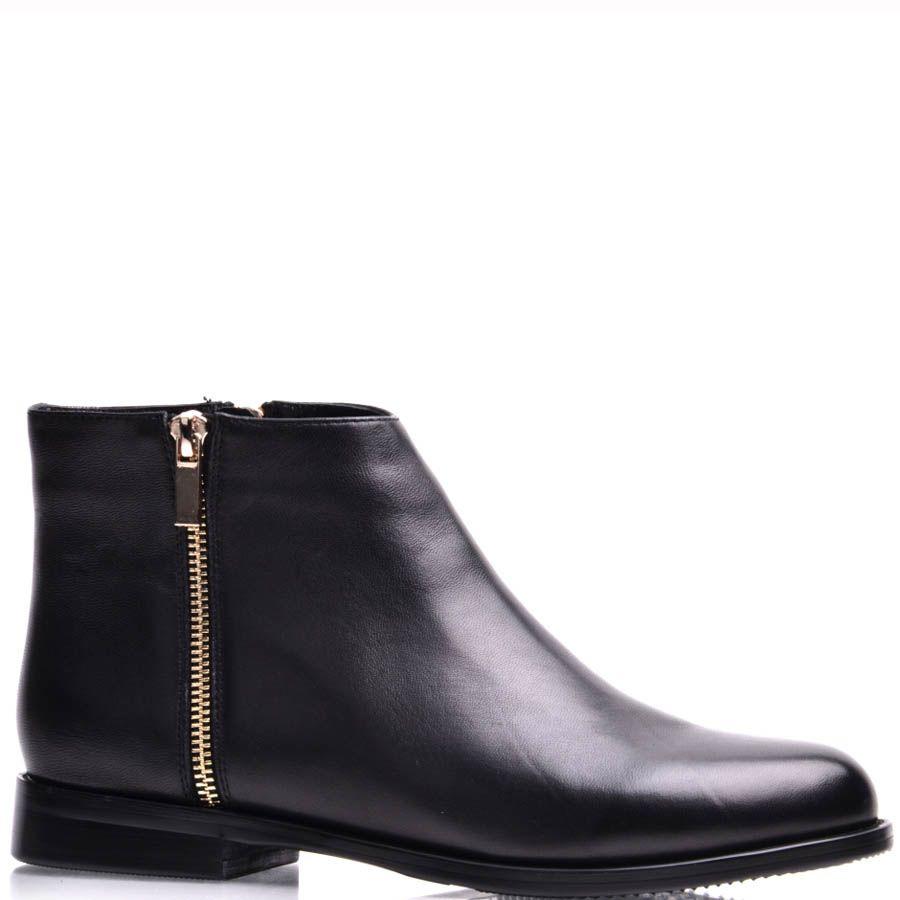 Ботинки Prego женские на низком ходу черного цвета с молнией