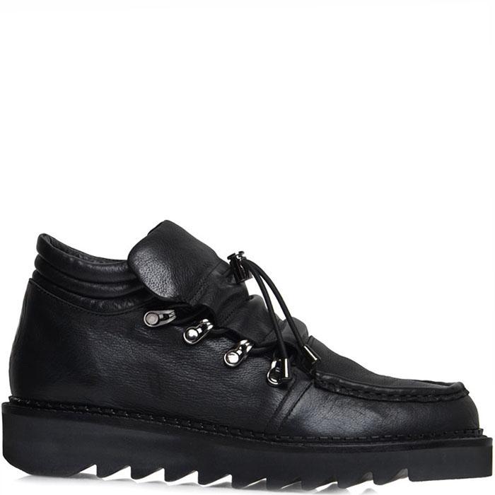 Женские туфли Prego из натуральной кожи черного цвета на толстой подошве
