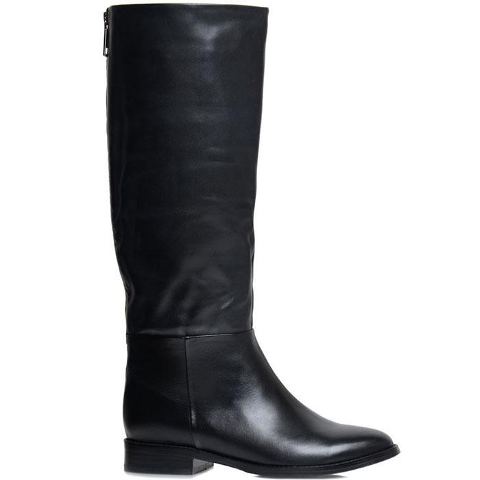 Кожаные сапоги Prego черного цвета на низком ходу