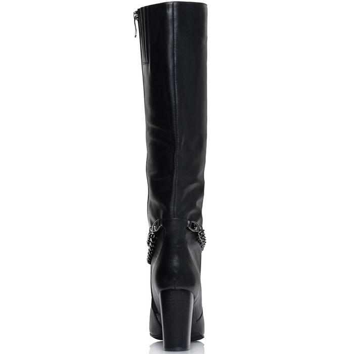 Кожаные высокие сапоги Prego черного цвета с декоративной цепочкой