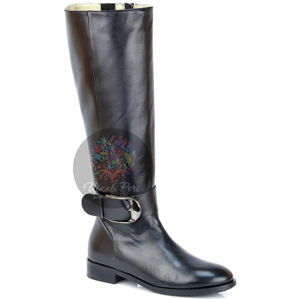 Сапоги Del Gatto осенние черные кожаные на низком широком каблуке