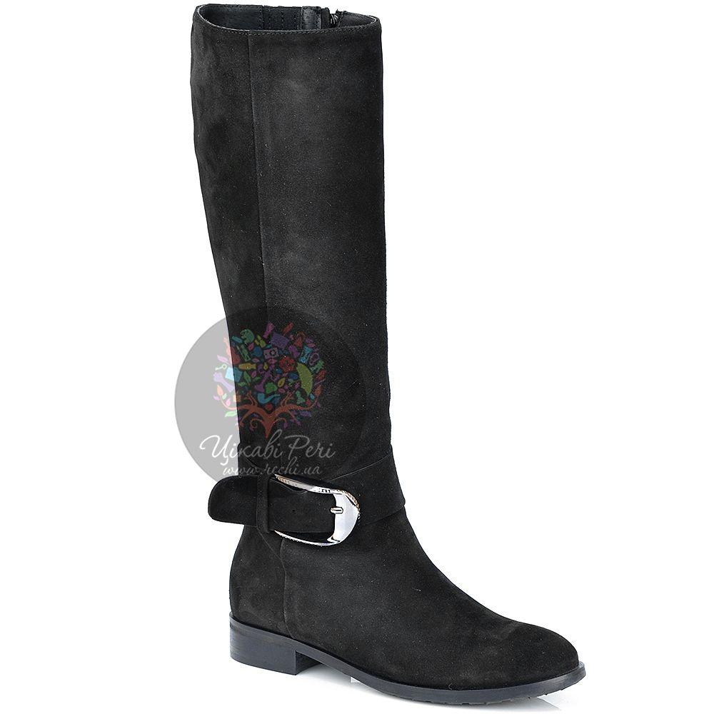 Сапоги Del Gatto осенние черные замшевые на низком широком каблуке