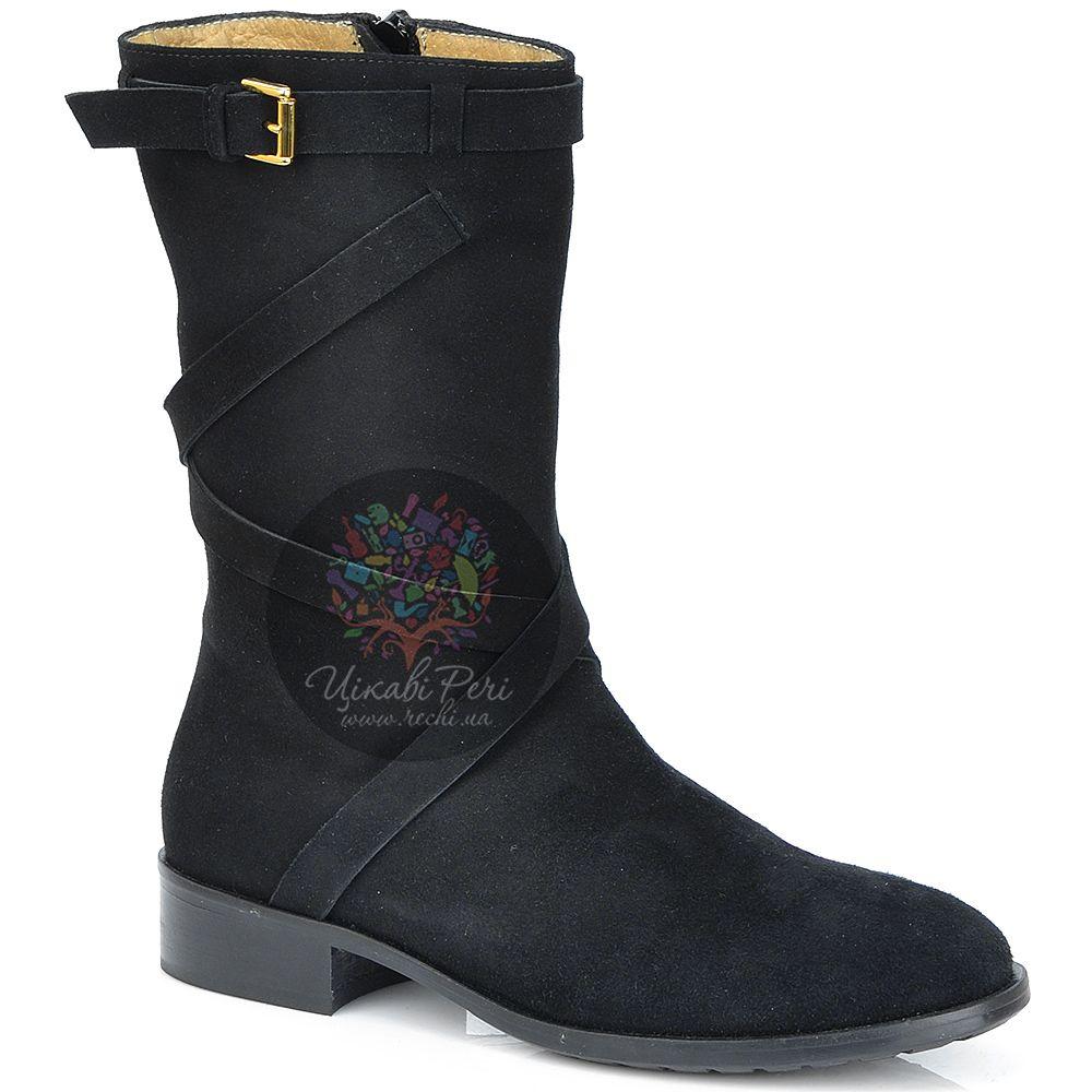 Ботинки Del Gatto высокие осенние черные замшевые на низком ходу
