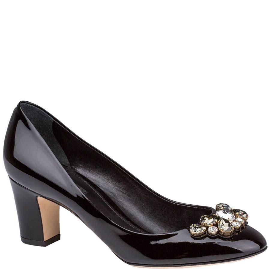 Туфли Dolce & Gabbana лаковые черного цвета с кристаллами