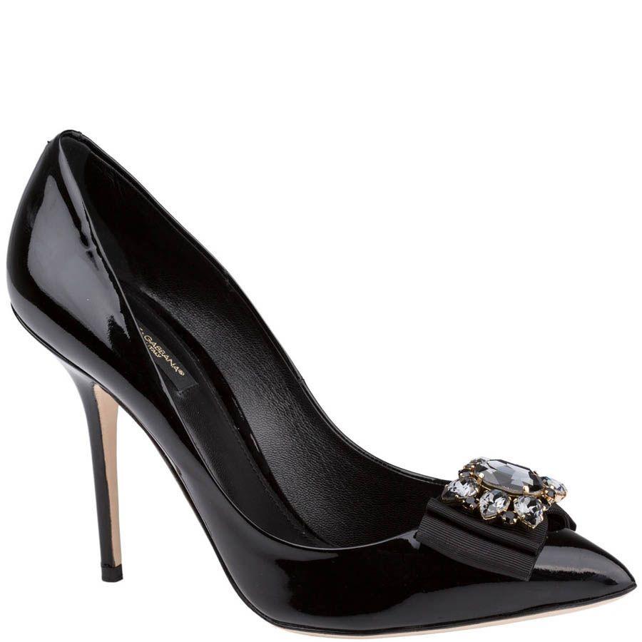 Туфли-лодочки Dolce & Gabbana черного цвета декорированные камнями и лентами