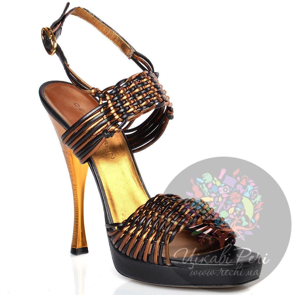 Босоножки Donna Karan Collection плетеные кожаные золотисто-черные