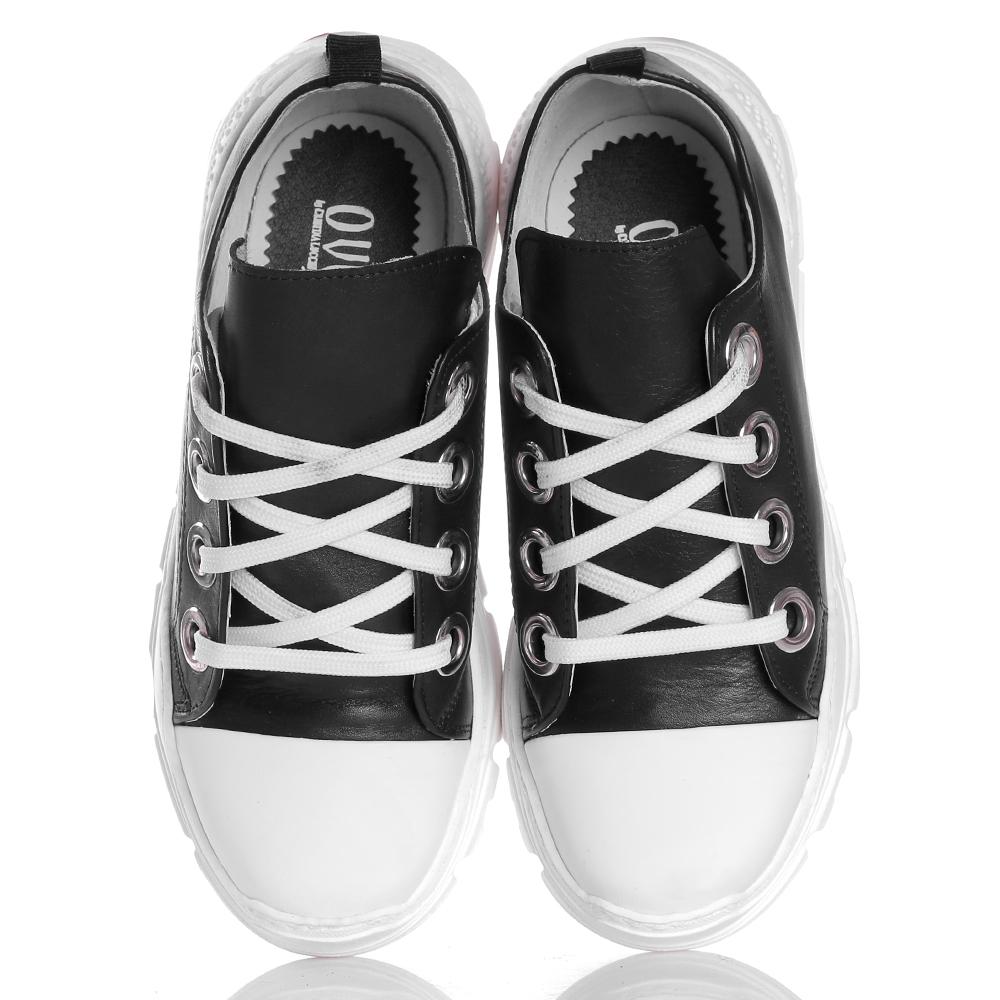 Черные кроссовки Ovye by Cristina Lucchi на толстой подошве с белым носочком