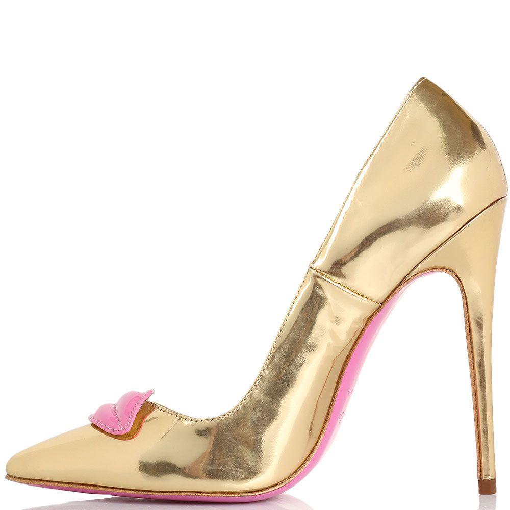 Туфли-лодочки Kandee лаковые золотистые с декоративными розовыми губами