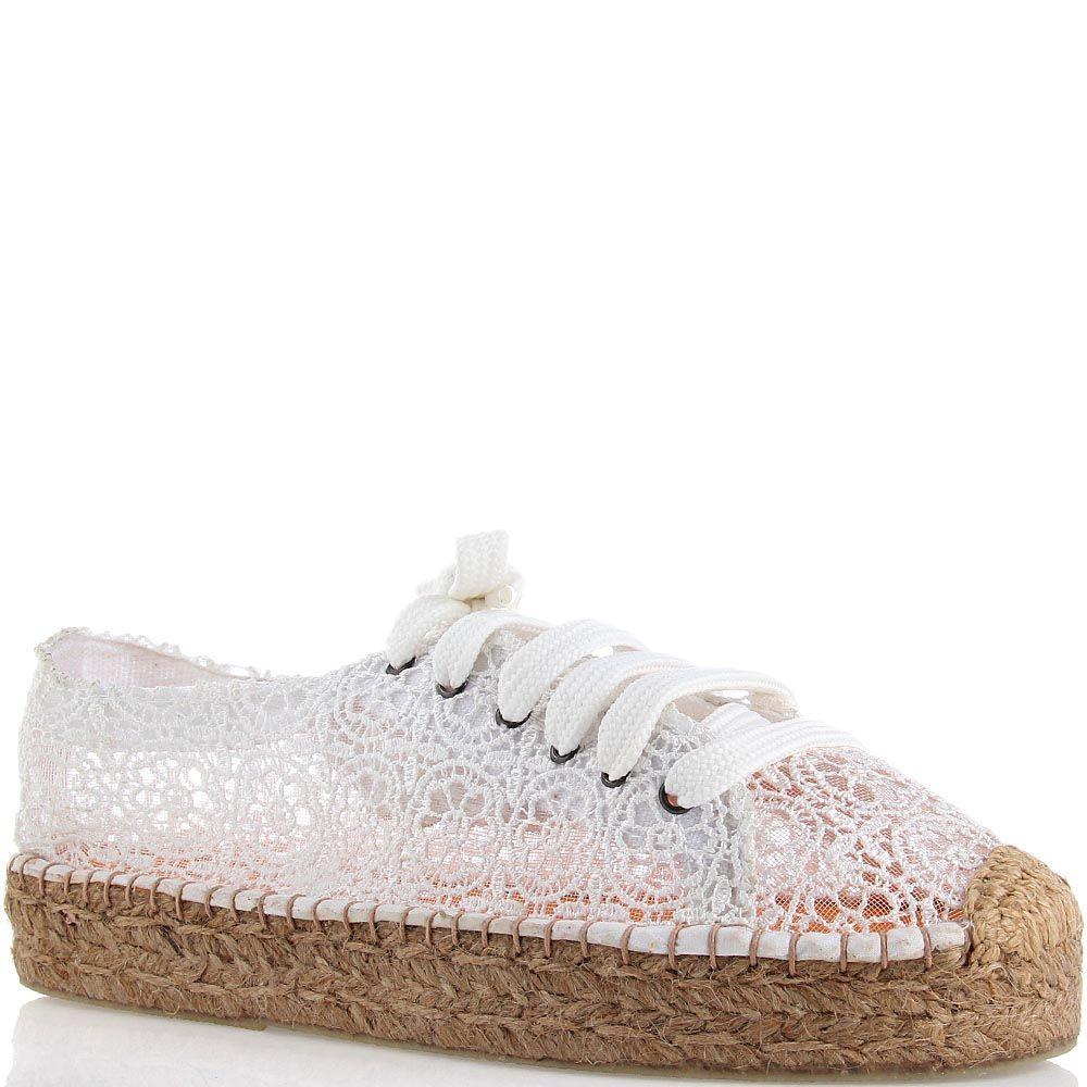 Эспадрильи Ovye на шнуровке кружевные белого цвета