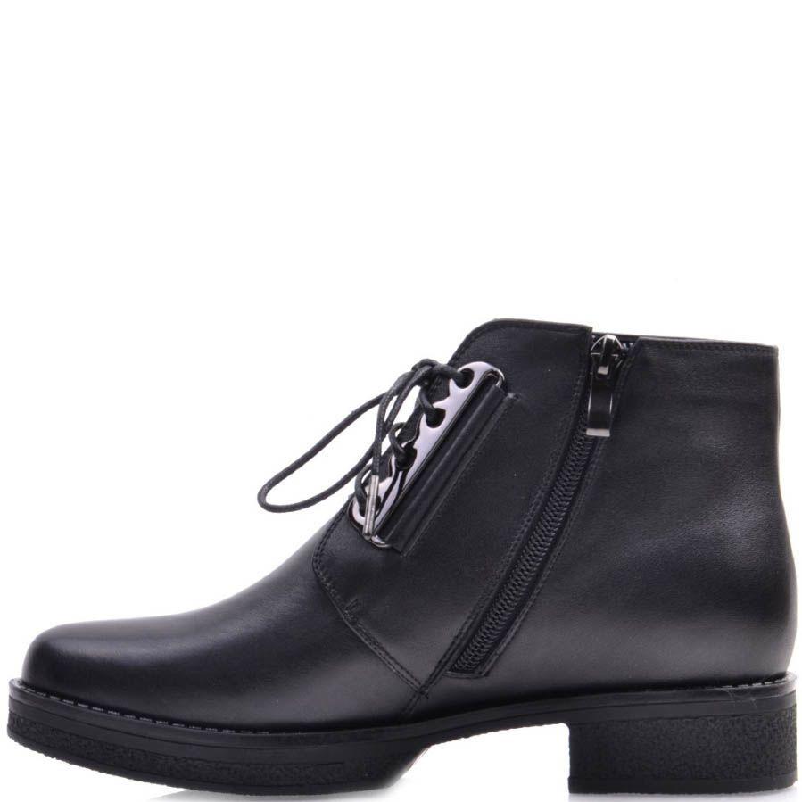 Ботинки Prego черного цвета кожаные с металлической втсавкой для шнуровки