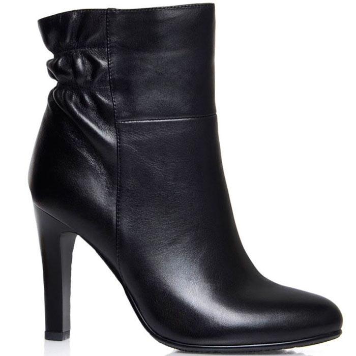 Ботинки Prego из натуральной кожи черного цвета на высоком каблуке